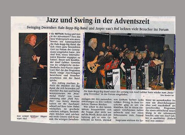 Pressemeldung vom 07.12.2011 Konzert mit Jasper van´t Hof